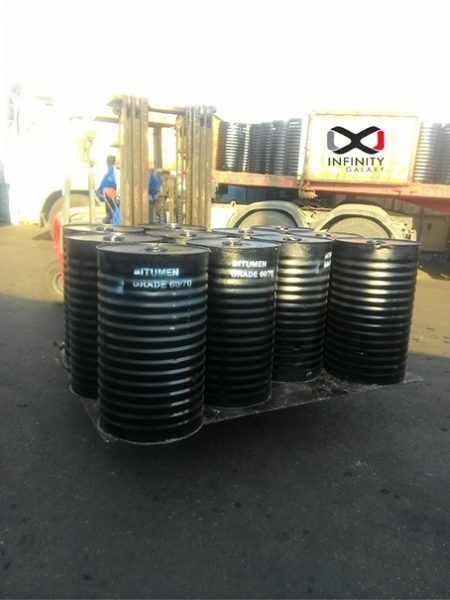 The export of Bitumen 60/70 in short steel drums by Infinity Galaxy