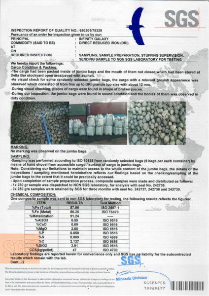 SGS inspection of sponge iron